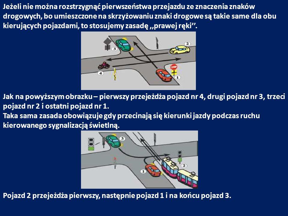 Jeżeli nie można rozstrzygnąć pierwszeństwa przejazdu ze znaczenia znaków drogowych, bo umieszczone na skrzyżowaniu znaki drogowe są takie same dla ob