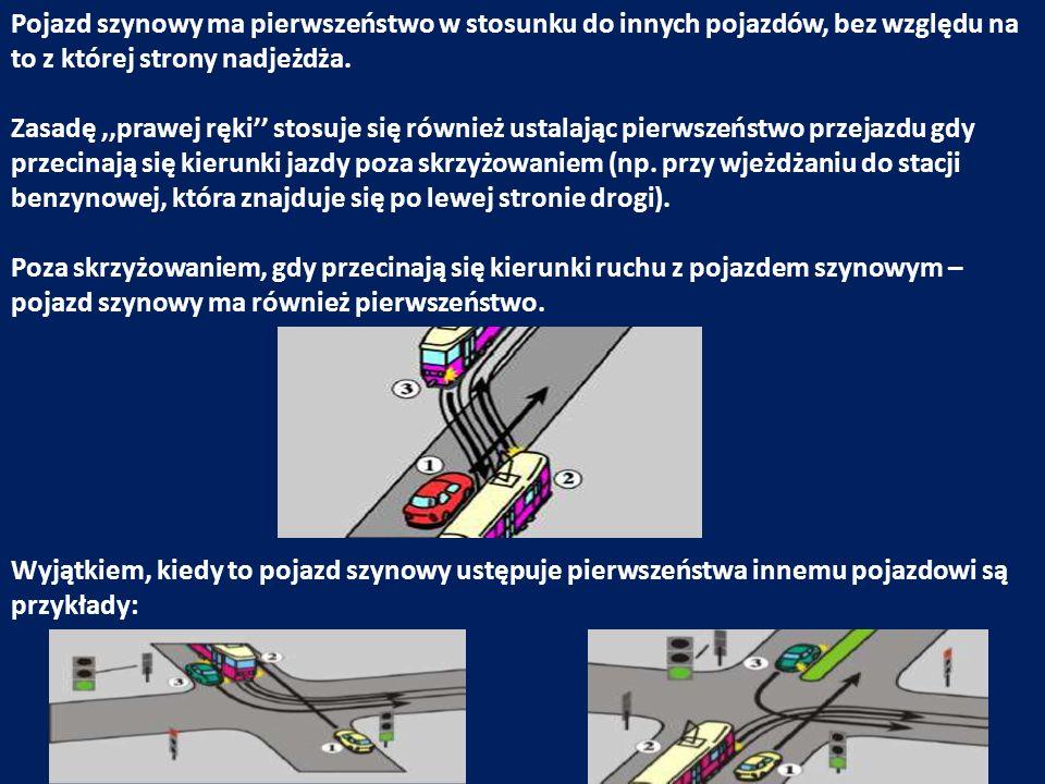 Pojazd szynowy ma pierwszeństwo w stosunku do innych pojazdów, bez względu na to z której strony nadjeżdża. Zasadę,,prawej ręki stosuje się również us