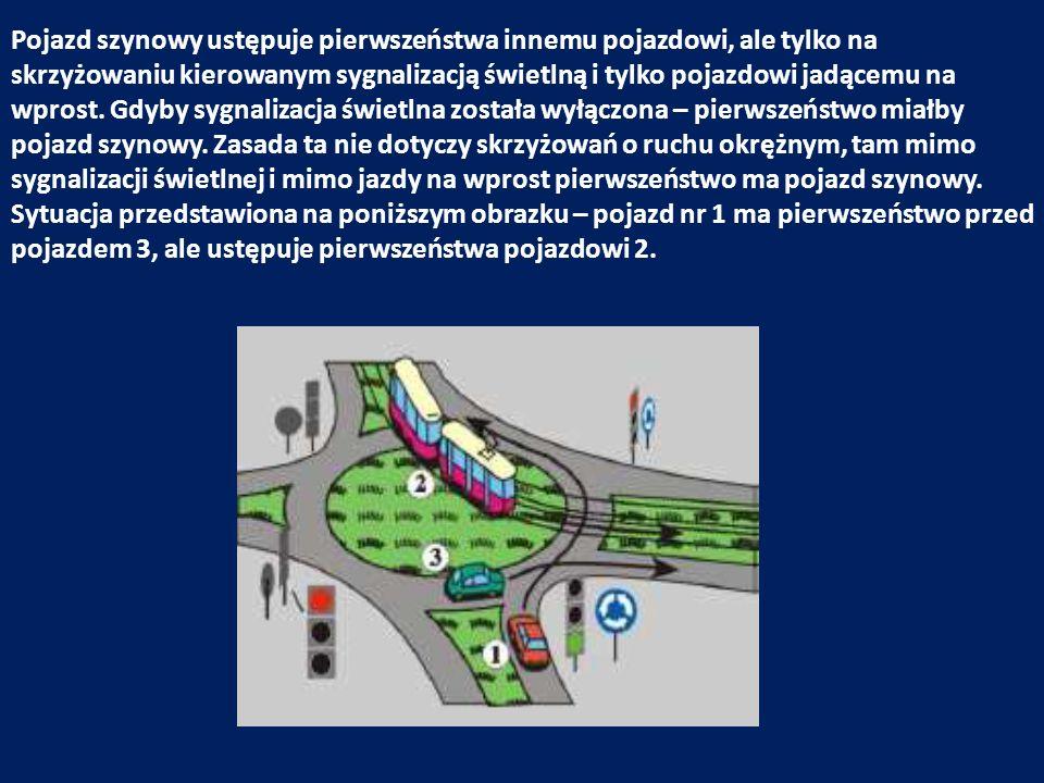Pojazd szynowy ustępuje pierwszeństwa innemu pojazdowi, ale tylko na skrzyżowaniu kierowanym sygnalizacją świetlną i tylko pojazdowi jadącemu na wpros