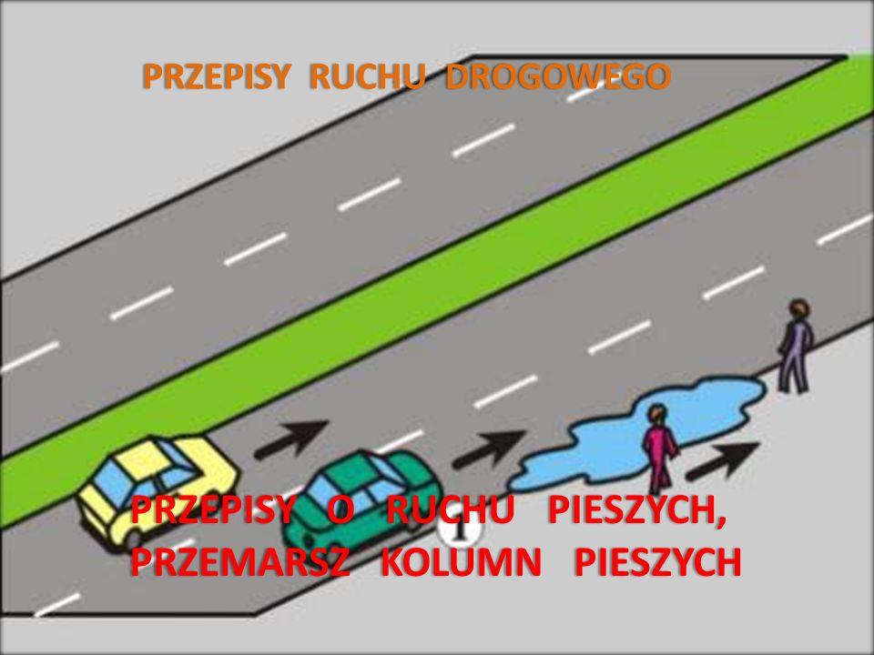 P R Z E P I S Y O R U C H U P I E S Z Y C H PIESZY – osoba znajdująca się poza pojazdem na drodze i nie wykonująca na niej robót lub czynności przewidzianych odrębnymi przepisami.