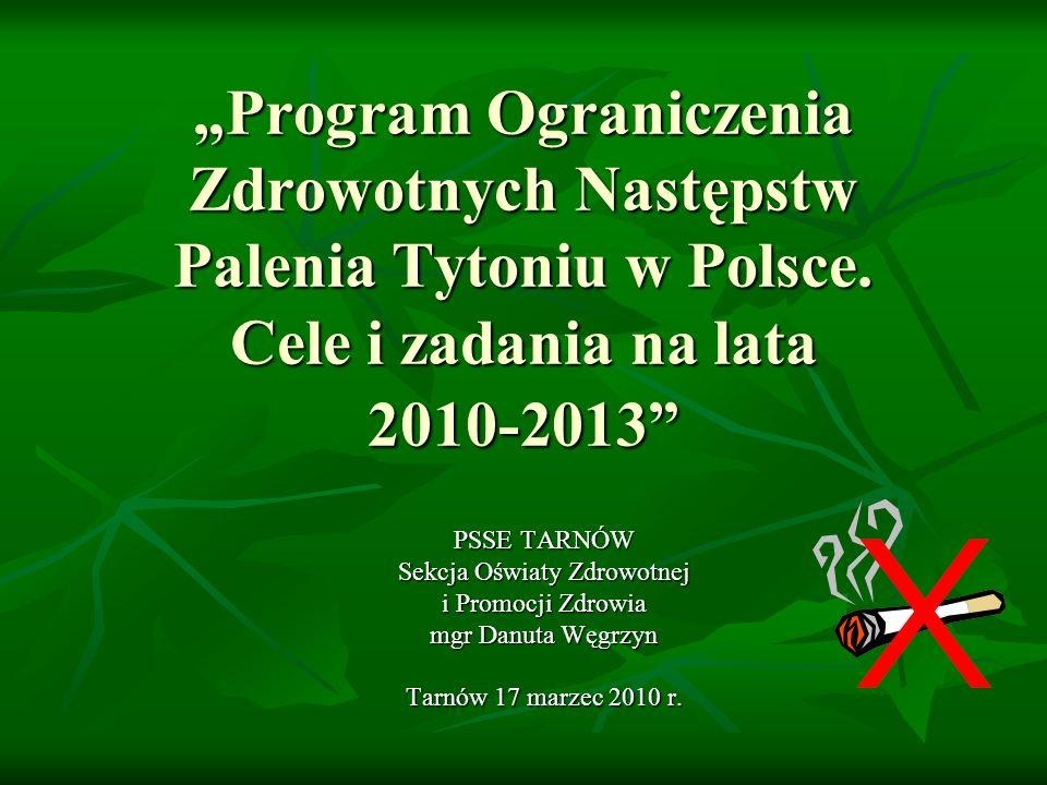 Program Ograniczenia Zdrowotnych Następstw Palenia Tytoniu w Polsce. Cele i zadania na lata 2010-2013 PSSE TARNÓW Sekcja Oświaty Zdrowotnej i Promocji