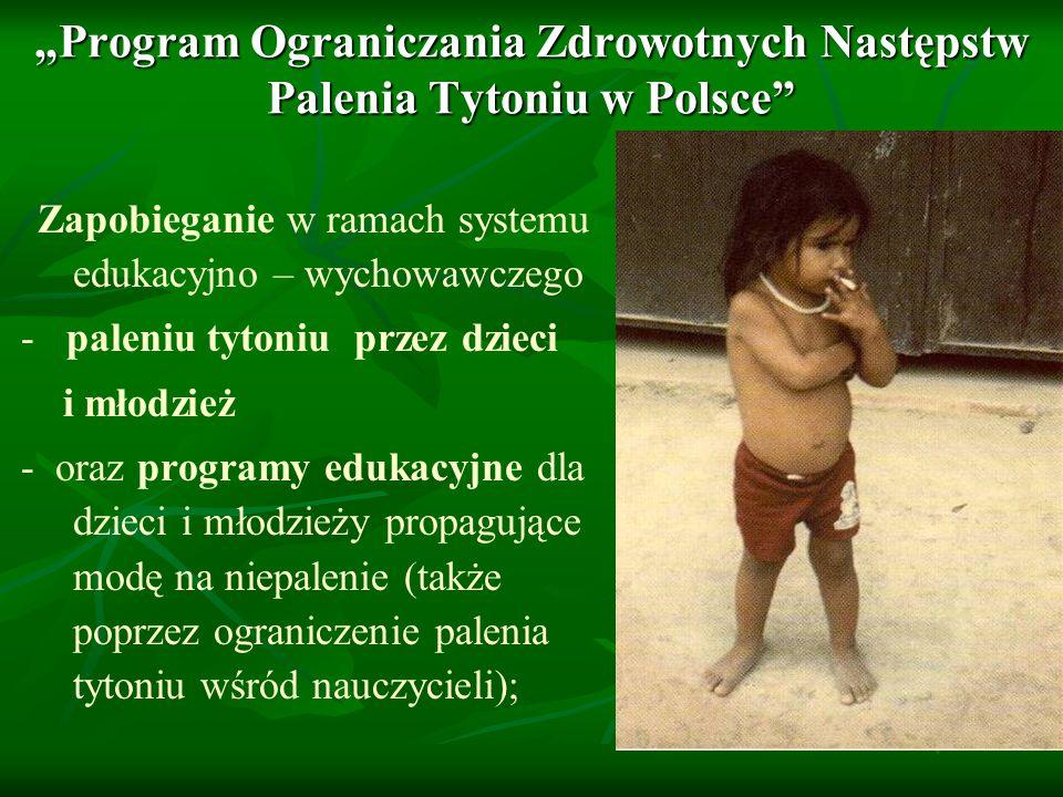 Program Ograniczania Zdrowotnych Następstw Palenia Tytoniu w Polsce Zapobieganie w ramach systemu edukacyjno – wychowawczego - paleniu tytoniu przez d