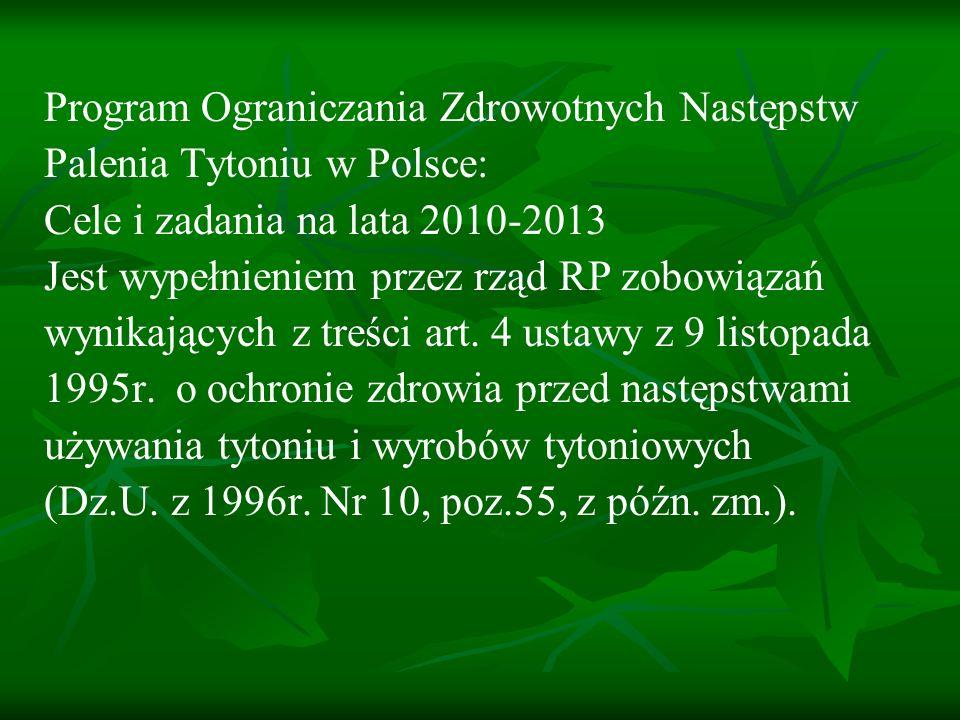 Cel główny Zmniejszenie zachorowań, inwalidztwa i zgonów wynikających z palenia tytoniu (choroby układu krążenia, oddechowego, nowotwory itp.) w Polsce poprzez zmniejszenie ekspozycji na dym tytoniowy (aktywne i bierne palenie).