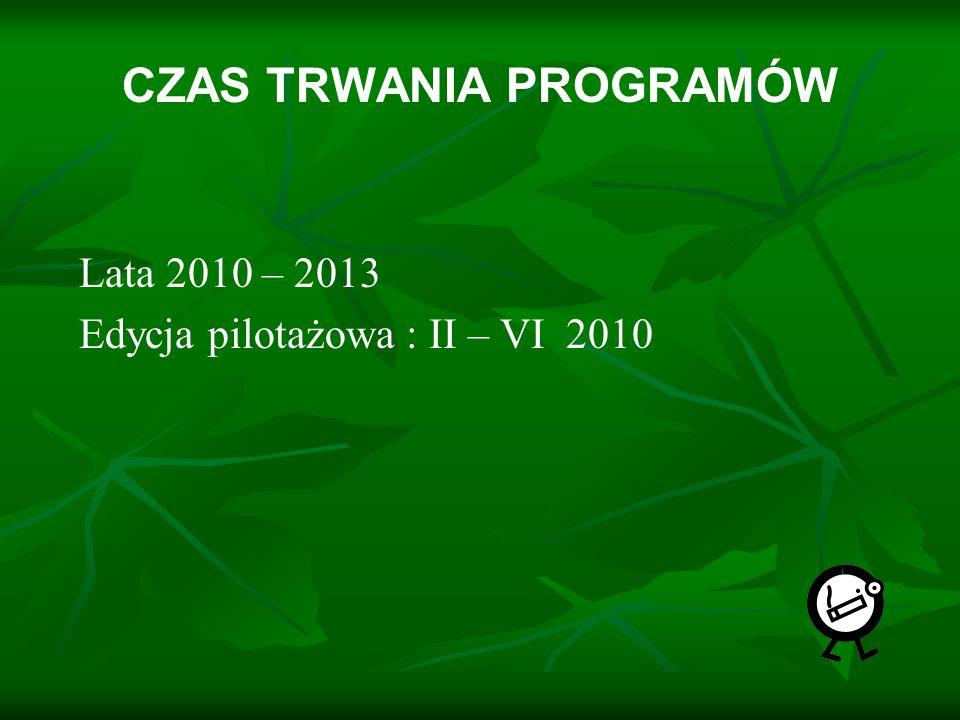 CZAS TRWANIA PROGRAMÓW Lata 2010 – 2013 Edycja pilotażowa : II – VI 2010