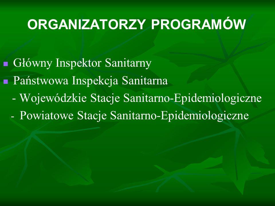 ORGANIZATORZY PROGRAMÓW Główny Inspektor Sanitarny Państwowa Inspekcja Sanitarna - Wojewódzkie Stacje Sanitarno-Epidemiologiczne - Powiatowe Stacje Sa