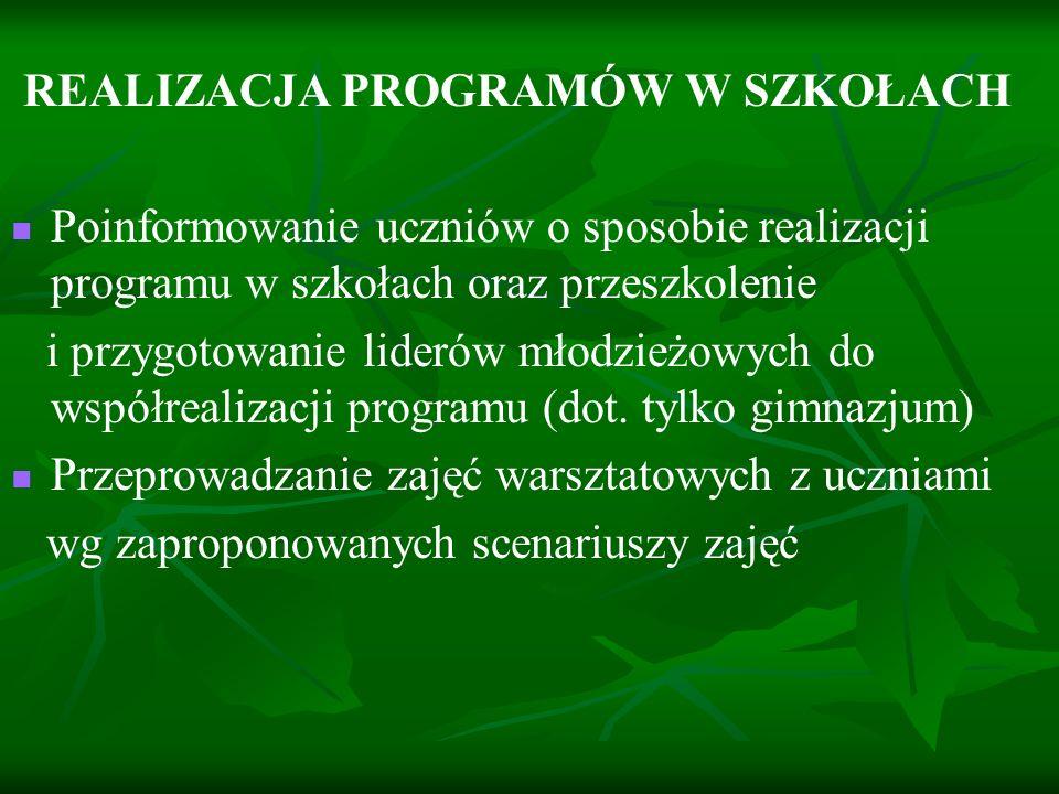 REALIZACJA PROGRAMÓW W SZKOŁACH Poinformowanie uczniów o sposobie realizacji programu w szkołach oraz przeszkolenie i przygotowanie liderów młodzieżow