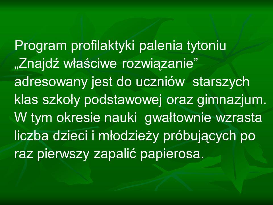 Odsetek młodzieży w Polsce rozpoczynającej palenie w wieku: 11 lat i mniej wynosi 13,8% 12 lat wynosi 9,2% 13 lat wynosi 9,6% 14 lat wynosi 11,3% 15 lat wynosi 9,7%