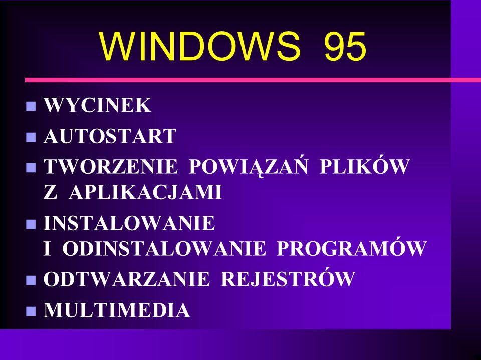 WINDOWS 95 n WYCINEK n AUTOSTART n TWORZENIE POWIĄZAŃ PLIKÓW Z APLIKACJAMI n INSTALOWANIE I ODINSTALOWANIE PROGRAMÓW n ODTWARZANIE REJESTRÓW n MULTIME