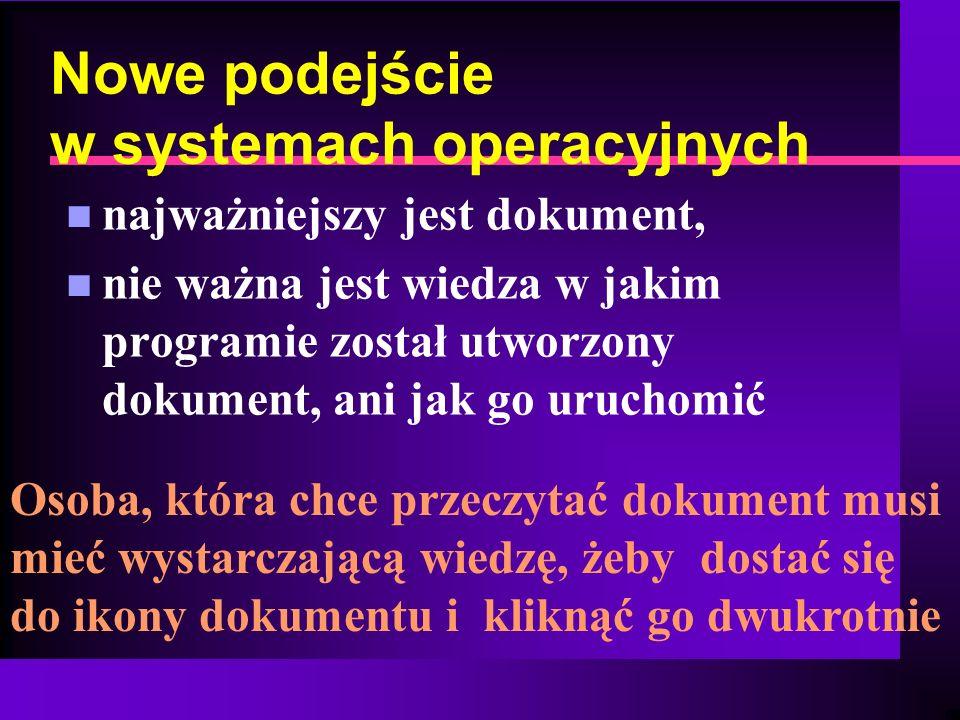 Nowe podejście w systemach operacyjnych n najważniejszy jest dokument, n nie ważna jest wiedza w jakim programie został utworzony dokument, ani jak go
