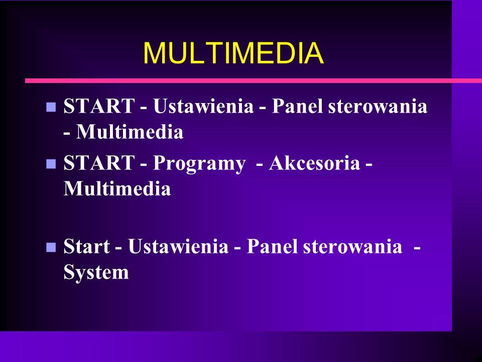 MULTIMEDIA n START - Ustawienia - Panel sterowania - Multimedia n START - Programy - Akcesoria - Multimedia n Start - Ustawienia - Panel sterowania -