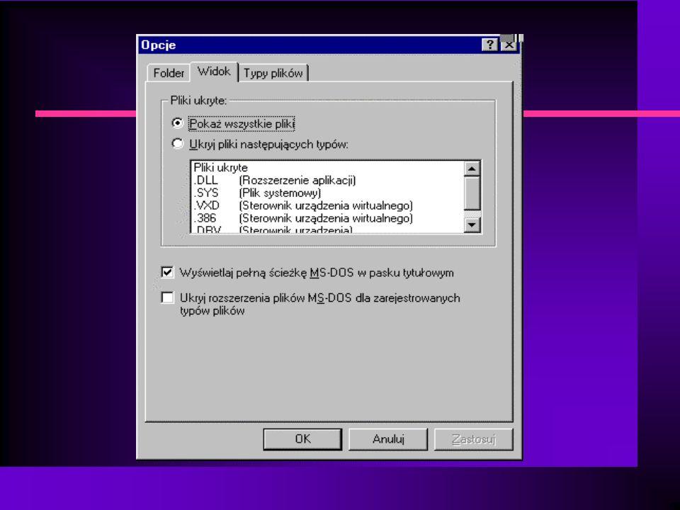 Formatowanie/kopiowanie dyskietki n Otwórz okno Mój Komputer n Włóż dyskietkę do stacji n Prawym przyciskiem myszy kliknąć ikonę dyskietki - wybieramy opcję formatowania lub kopiowania dyskietki