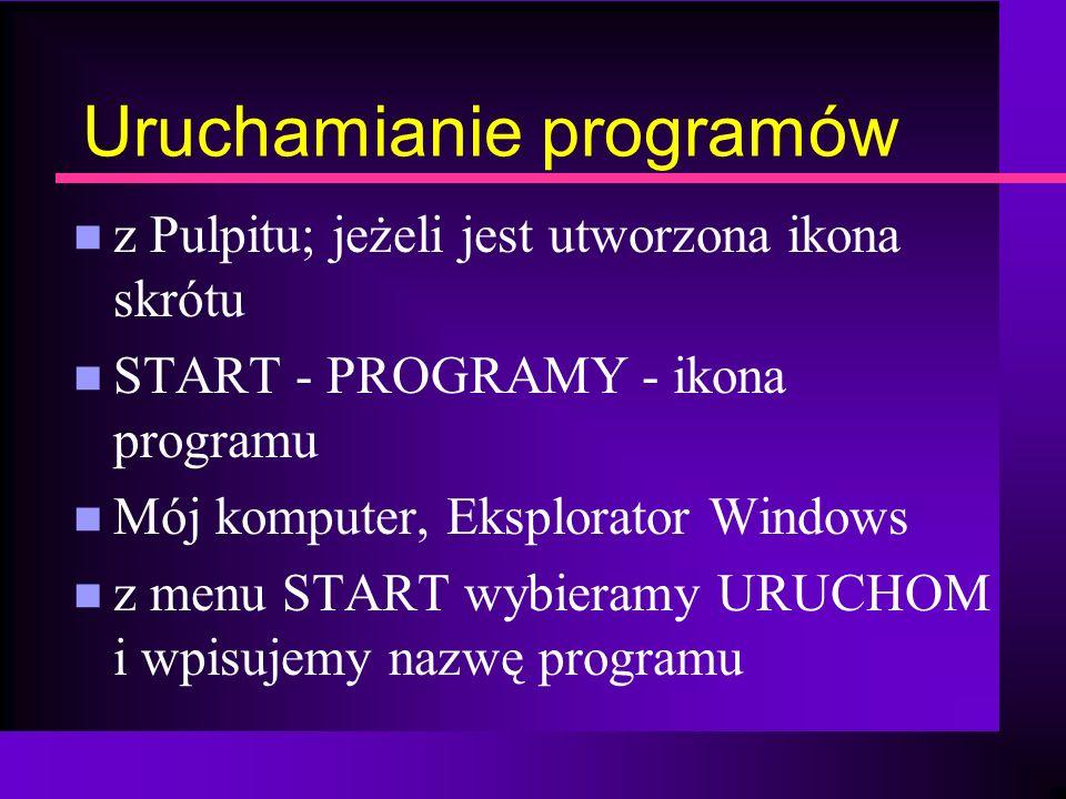 Uruchamianie programów n z Pulpitu; jeżeli jest utworzona ikona skrótu n START - PROGRAMY - ikona programu n Mój komputer, Eksplorator Windows n z men
