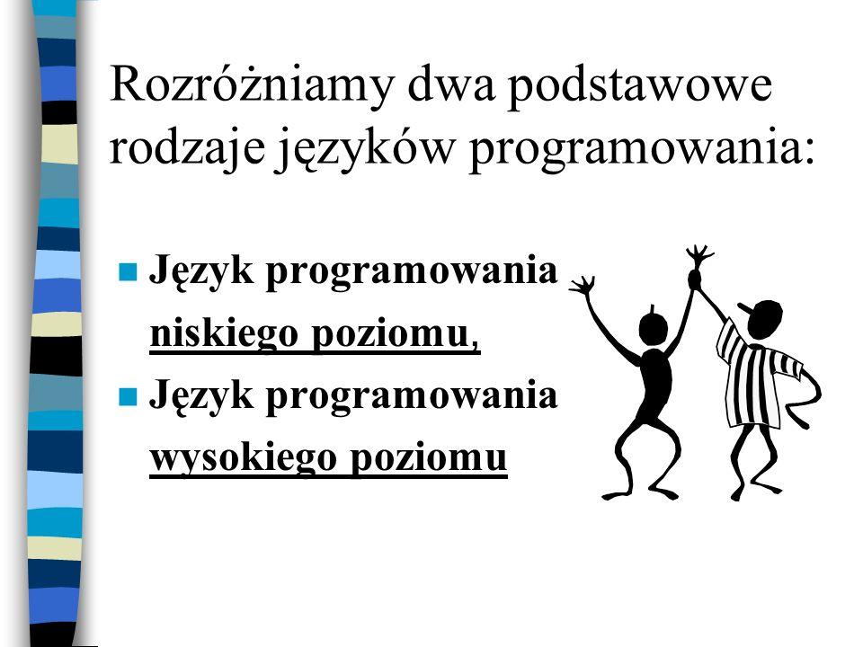 Język programowania n Sztucznie stworzony język, używany przez programistów do wydawania rozkazów (poleceń) komputerowi. Są w nim pisane wszystkie pro