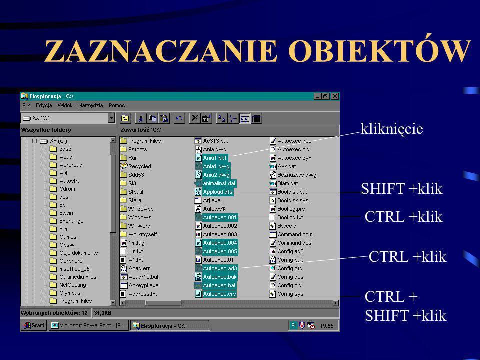 Tworzenie kopii w tym samym folderze Zaznaczyć pliki, które chcemy skopiować Wybieramy opcję Kopiuj z menu EDYCJA lub naciskamy CTRL+C lub naciskamy przycisk Kopiuj na pasku narzędzi Następnie wybieramy opcję Wklej z menu EDYCJA lub naciskamy kombinację CTL+V lub naciskamy przycisk WKLEJ na pasku narzędzi Powstają pliki o nazwie Kopia...