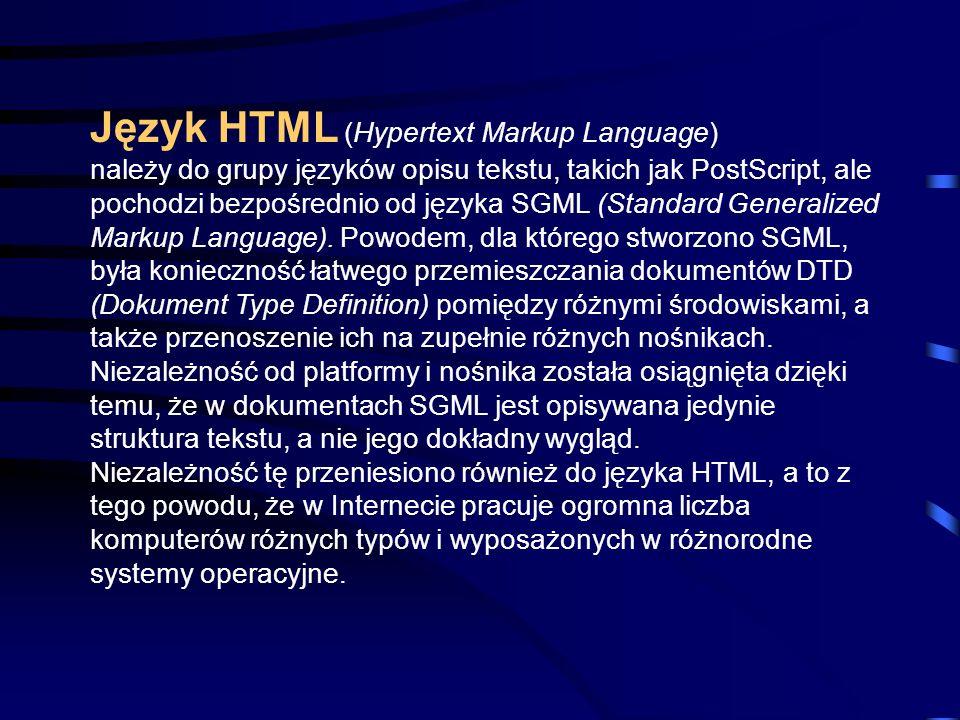HTML Język opisu strony www
