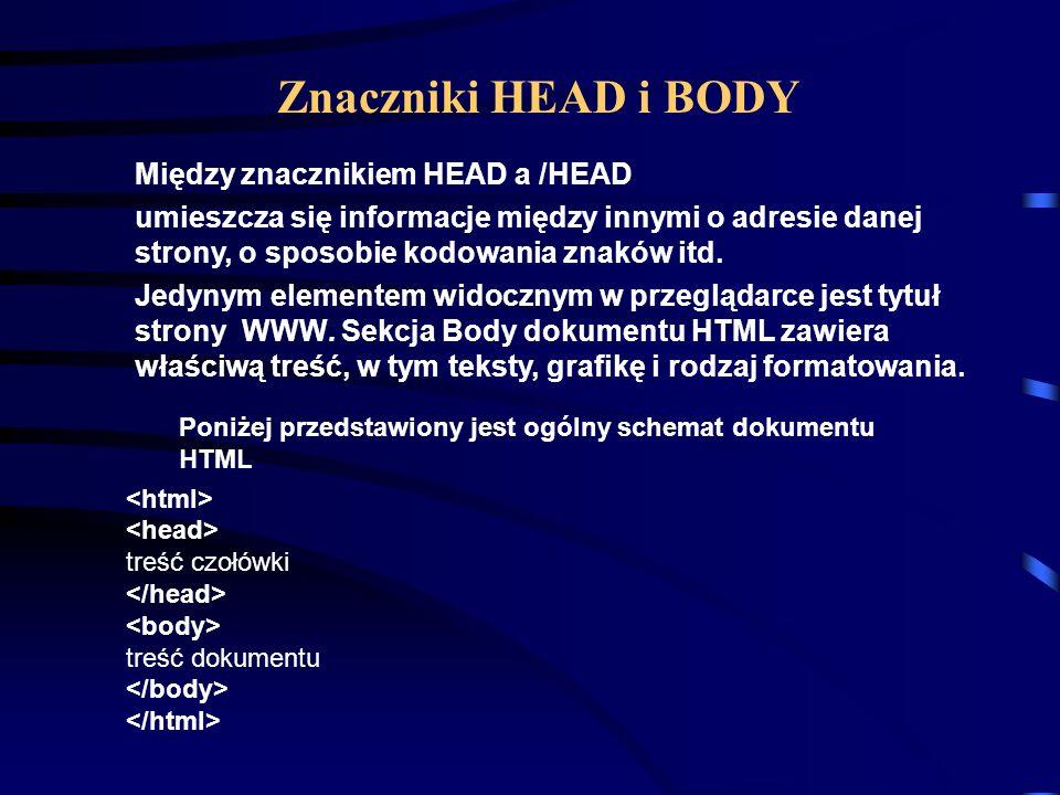 treść dokumentu Znacznik informuje przeglądarkę, że jest to dokument HTML.