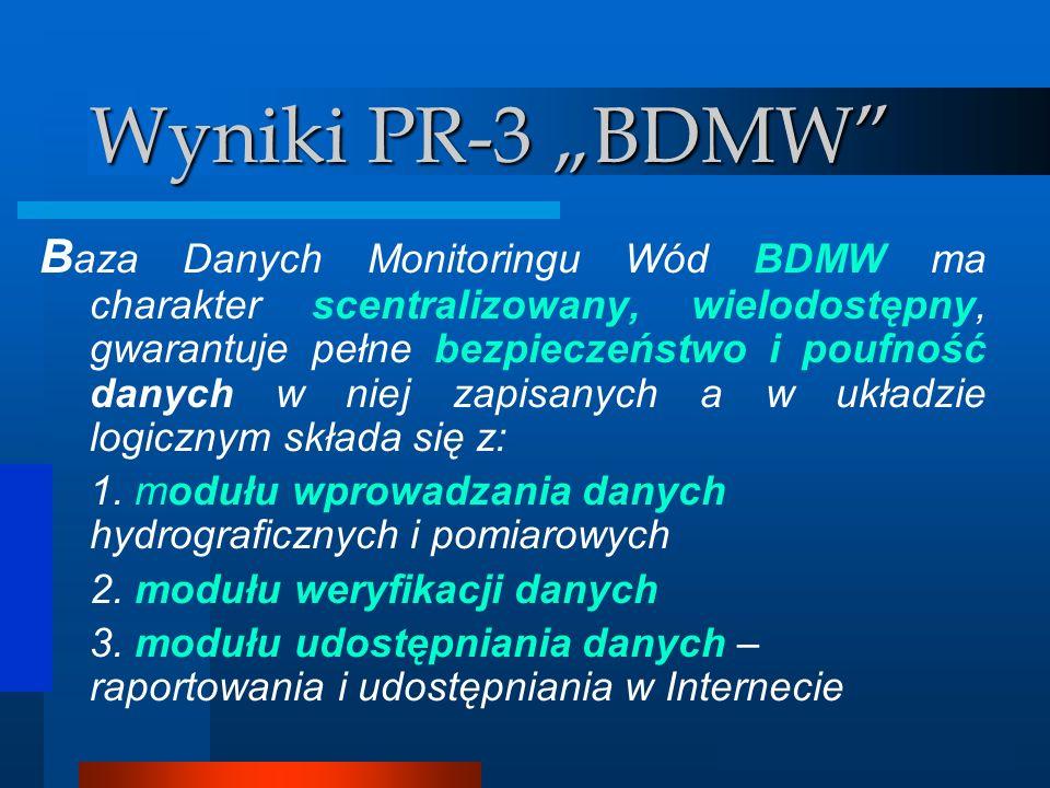 Analizator GIS Wyniki PR-3 BDMW Wymagania/oczekiwania od BDMW : Ia) interaktywny interfejs graficzny umożliwiający łatwą komunikację z BDMW b) jednorazowy import danych historycznych z bazy danych JaWo c) importowanie wyników analiz laboratoryjnych z systemu zarządzania pracą laboratorium (CS-17) d) graficzną prezentację punktów pomiarowo- kontrolnych (ppk) na mapie GIS