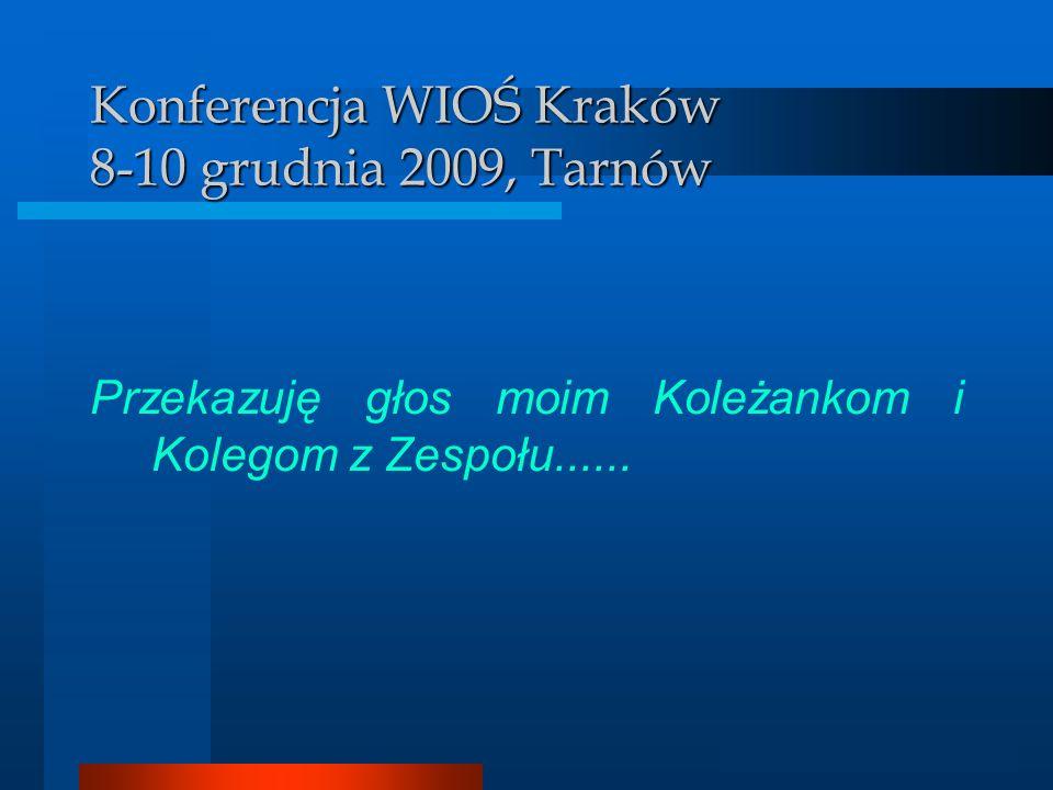 Analizator GIS Konferencja WIOŚ Kraków 8-10 grudnia 2009, Tarnów Przekazuję głos moim Koleżankom i Kolegom z Zespołu......