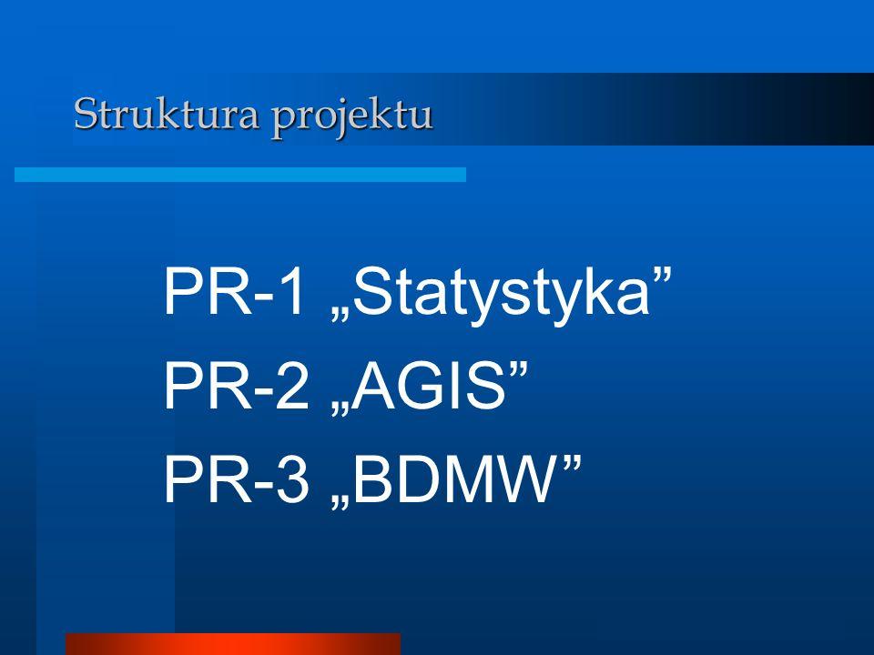 Analizator GIS Struktura projektu PR-1 Statystyka PR-2 AGIS PR-3 BDMW