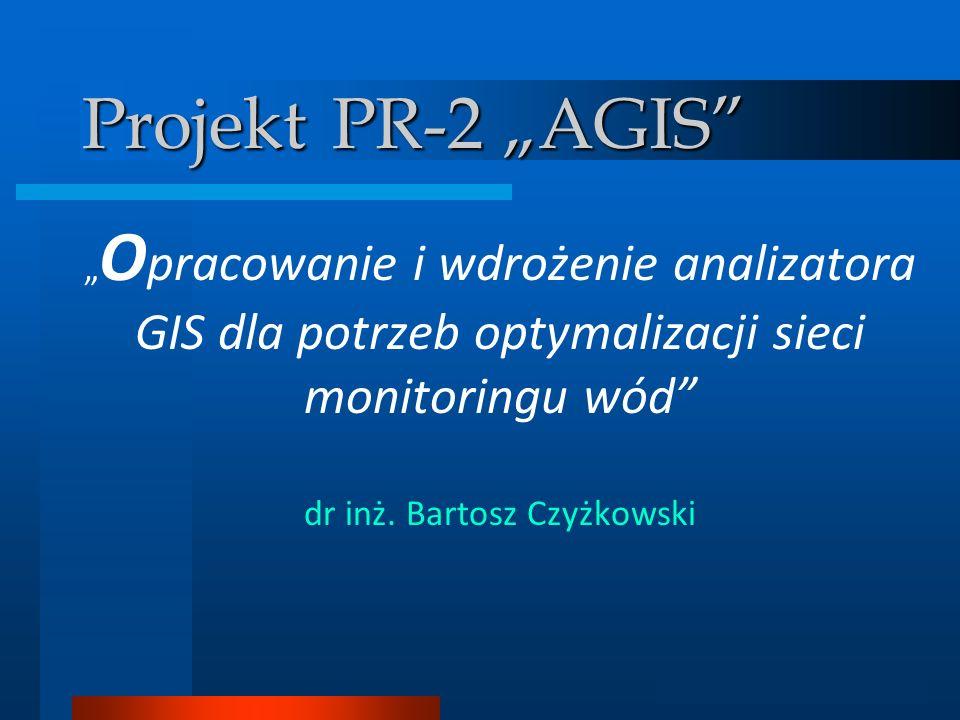Analizator GIS Projekt PR-2 AGIS O pracowanie i wdrożenie analizatora GIS dla potrzeb optymalizacji sieci monitoringu wód dr inż. Bartosz Czyżkowski