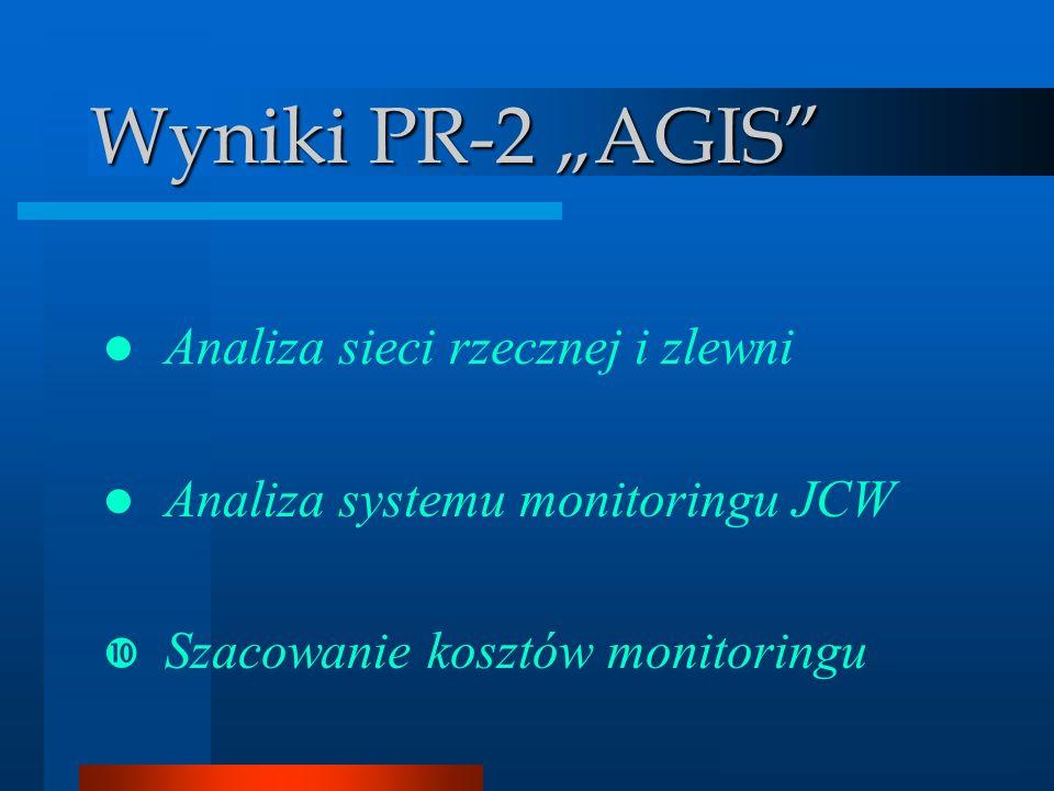 Analizator GIS Wyniki PR-2 AGIS Analiza sieci rzecznej i zlewni Analiza systemu monitoringu JCW Szacowanie kosztów monitoringu