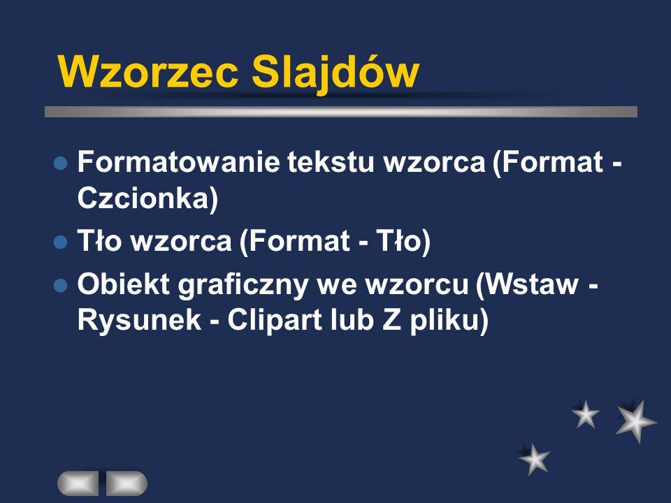 Wzorzec Slajdów Formatowanie tekstu wzorca (Format - Czcionka) Tło wzorca (Format - Tło) Obiekt graficzny we wzorcu (Wstaw - Rysunek - Clipart lub Z pliku)