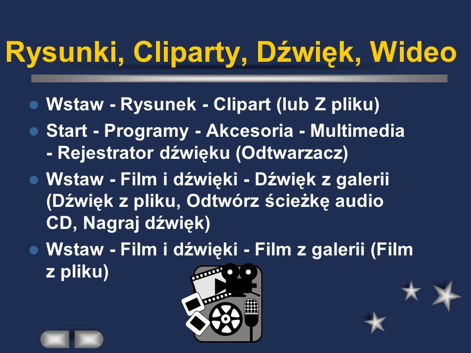 Rysunki, Cliparty, Dźwięk, Wideo Wstaw - Rysunek - Clipart (lub Z pliku) Start - Programy - Akcesoria - Multimedia - Rejestrator dźwięku (Odtwarzacz) Wstaw - Film i dźwięki - Dźwięk z galerii (Dźwięk z pliku, Odtwórz ścieżkę audio CD, Nagraj dźwięk) Wstaw - Film i dźwięki - Film z galerii (Film z pliku)