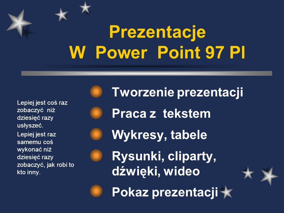 Prezentacje W Power Point 97 Pl Tworzenie prezentacji Praca z tekstem Wykresy, tabele Rysunki, cliparty, dźwięki, wideo Pokaz prezentacji Lepiej jest coś raz zobaczyć niż dziesięć razy usłyszeć.