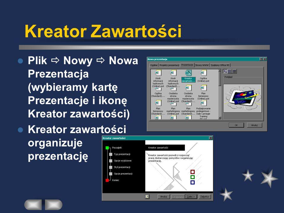 Kreator Zawartości Plik Nowy Nowa Prezentacja (wybieramy kartę Prezentacje i ikonę Kreator zawartości) Kreator zawartości organizuje prezentację
