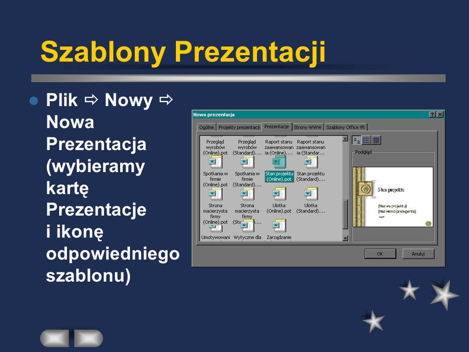 Projekty Prezentacji Plik Nowy Nowa Prezentacja (wybieramy kartę Projekty Prezentacji)