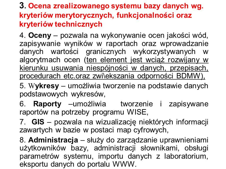 3. Ocena zrealizowanego systemu bazy danych wg.