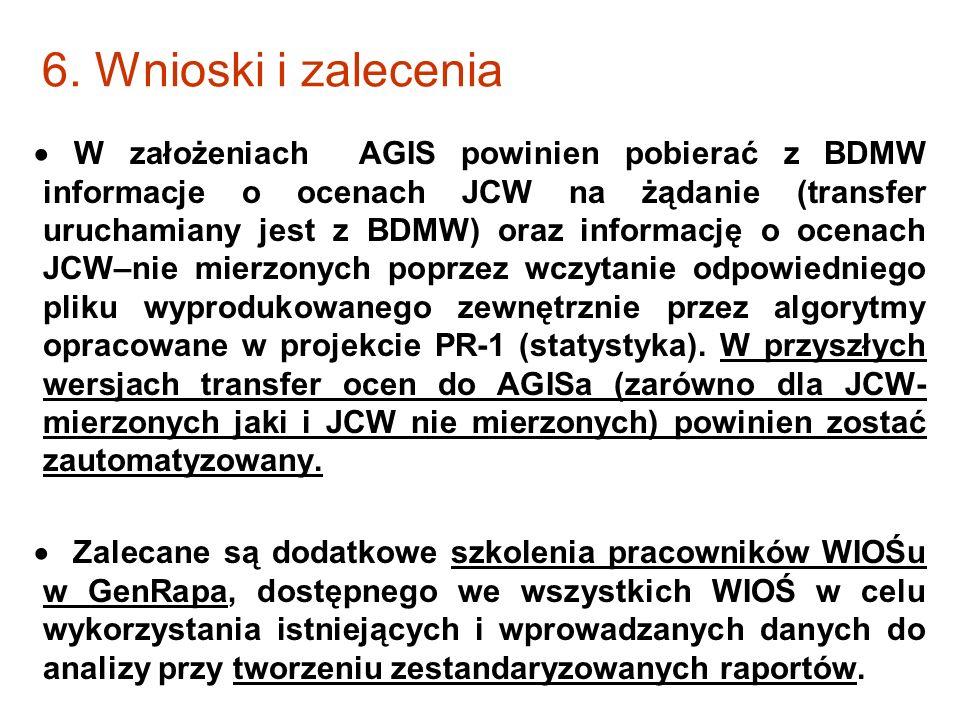 6. Wnioski i zalecenia W założeniach AGIS powinien pobierać z BDMW informacje o ocenach JCW na żądanie (transfer uruchamiany jest z BDMW) oraz informa