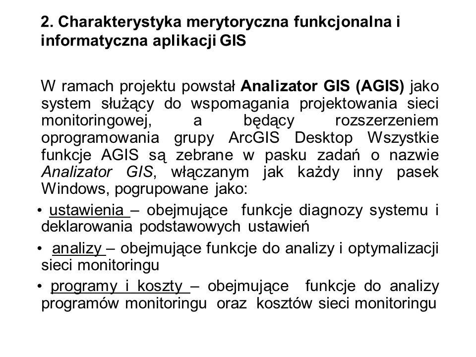 2. Charakterystyka merytoryczna funkcjonalna i informatyczna aplikacji GIS W ramach projektu powstał Analizator GIS (AGIS) jako system służący do wspo