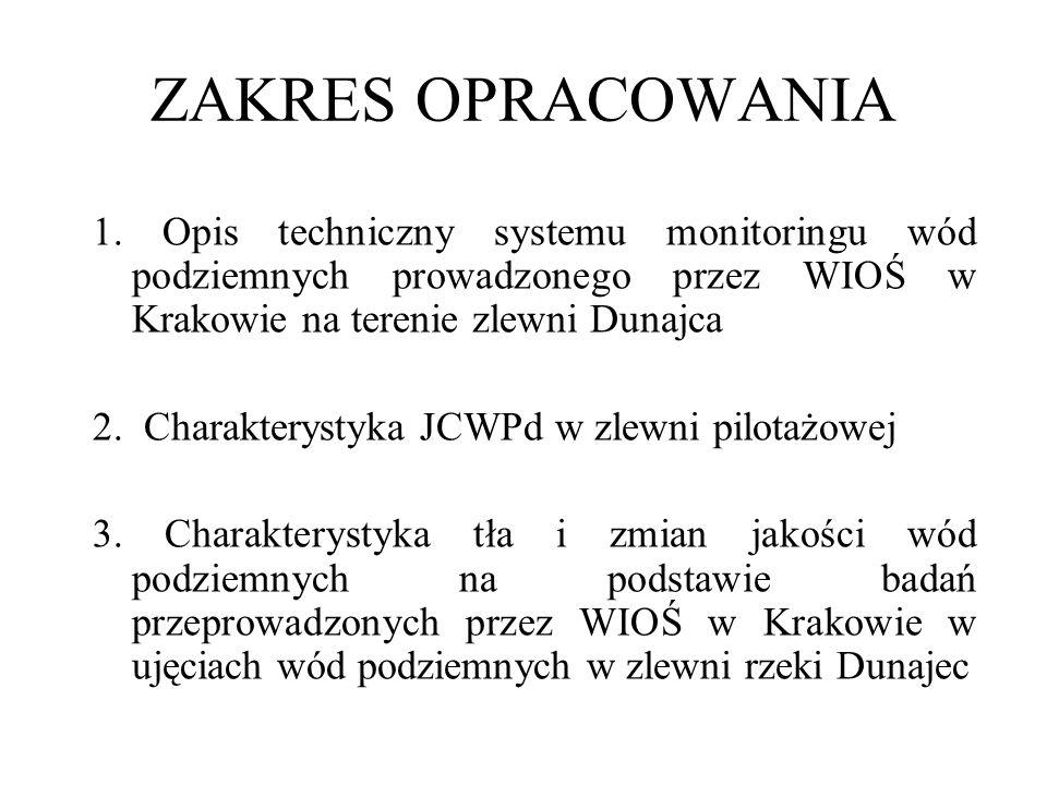 ZAKRES OPRACOWANIA 1. Opis techniczny systemu monitoringu wód podziemnych prowadzonego przez WIOŚ w Krakowie na terenie zlewni Dunajca 2. Charakteryst
