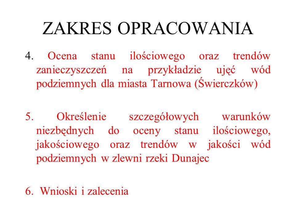 ZAKRES OPRACOWANIA 4. Ocena stanu ilościowego oraz trendów zanieczyszczeń na przykładzie ujęć wód podziemnych dla miasta Tarnowa (Świerczków) 5. Okreś