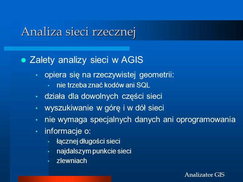 Analizator GIS Analiza sieci rzecznej Zalety analizy sieci w AGIS opiera się na rzeczywistej geometrii: nie trzeba znać kodów ani SQL działa dla dowol