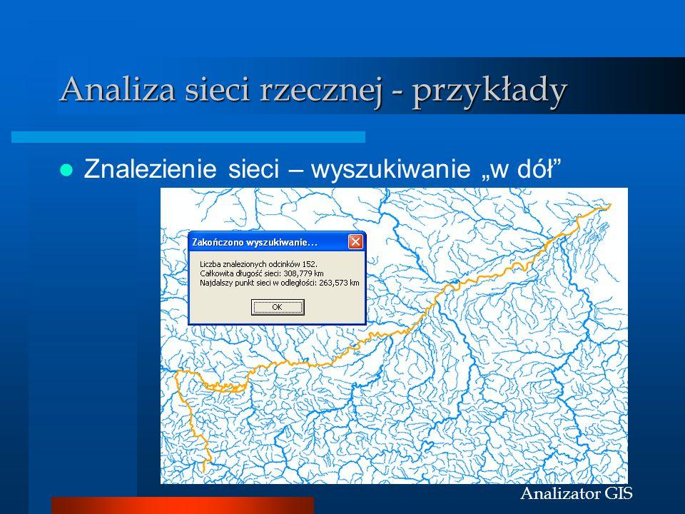 Analizator GIS Analiza sieci rzecznej - przykłady Znalezienie sieci – wyszukiwanie w dół