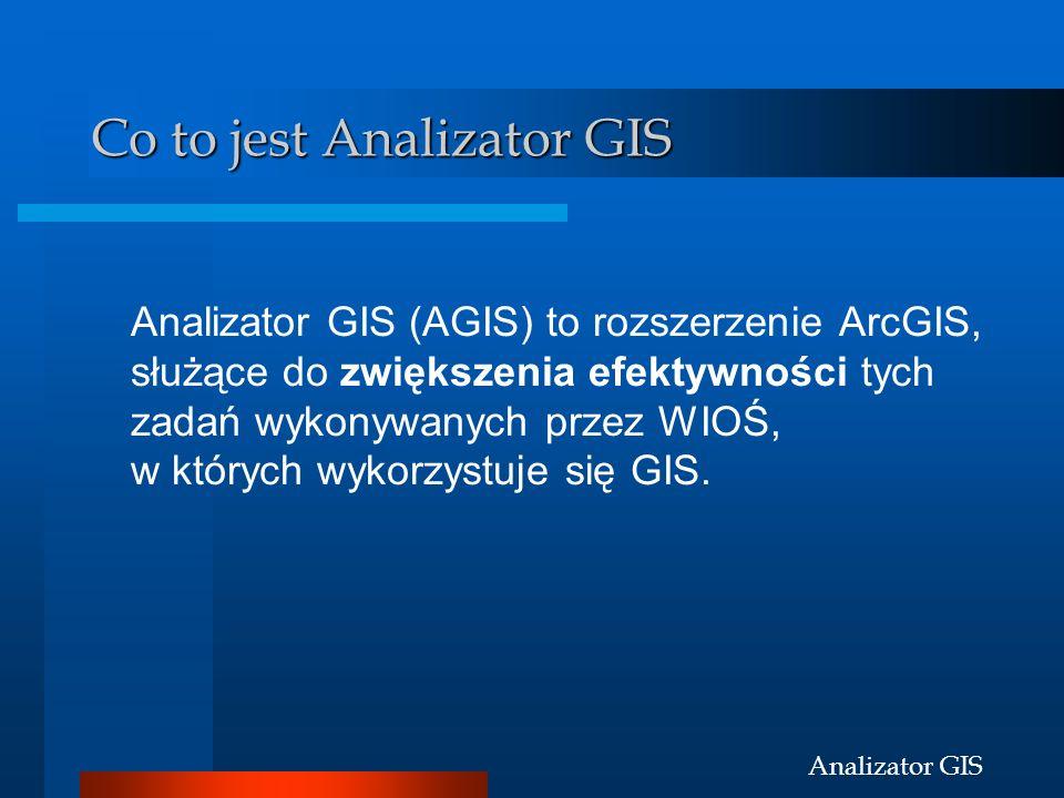 Analizator GIS Co to jest Analizator GIS Analizator GIS (AGIS) to rozszerzenie ArcGIS, służące do zwiększenia efektywności tych zadań wykonywanych prz