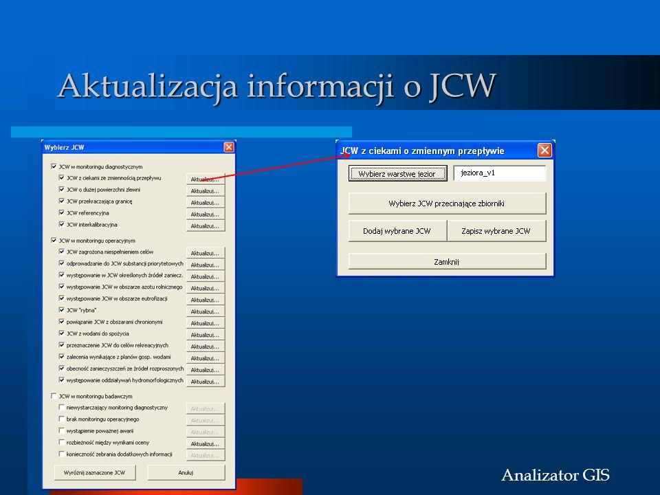 Analizator GIS Aktualizacja informacji o JCW