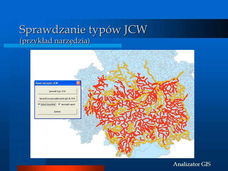 Analizator GIS Sprawdzanie typów JCW (przykład narzędzia)
