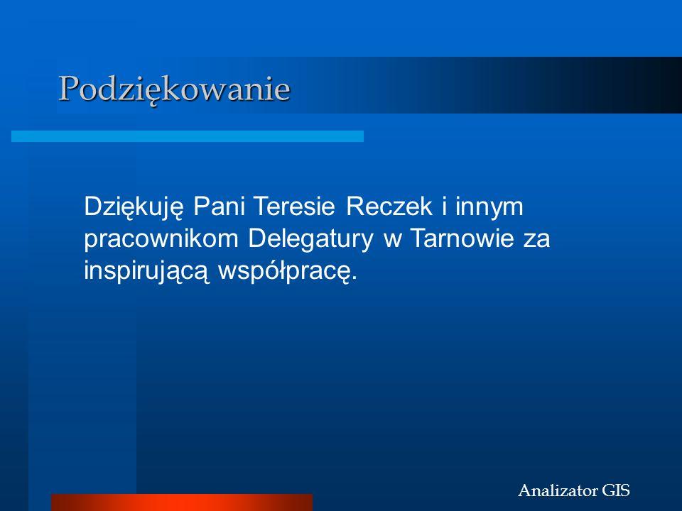 Analizator GIS Podziękowanie Dziękuję Pani Teresie Reczek i innym pracownikom Delegatury w Tarnowie za inspirującą współpracę.