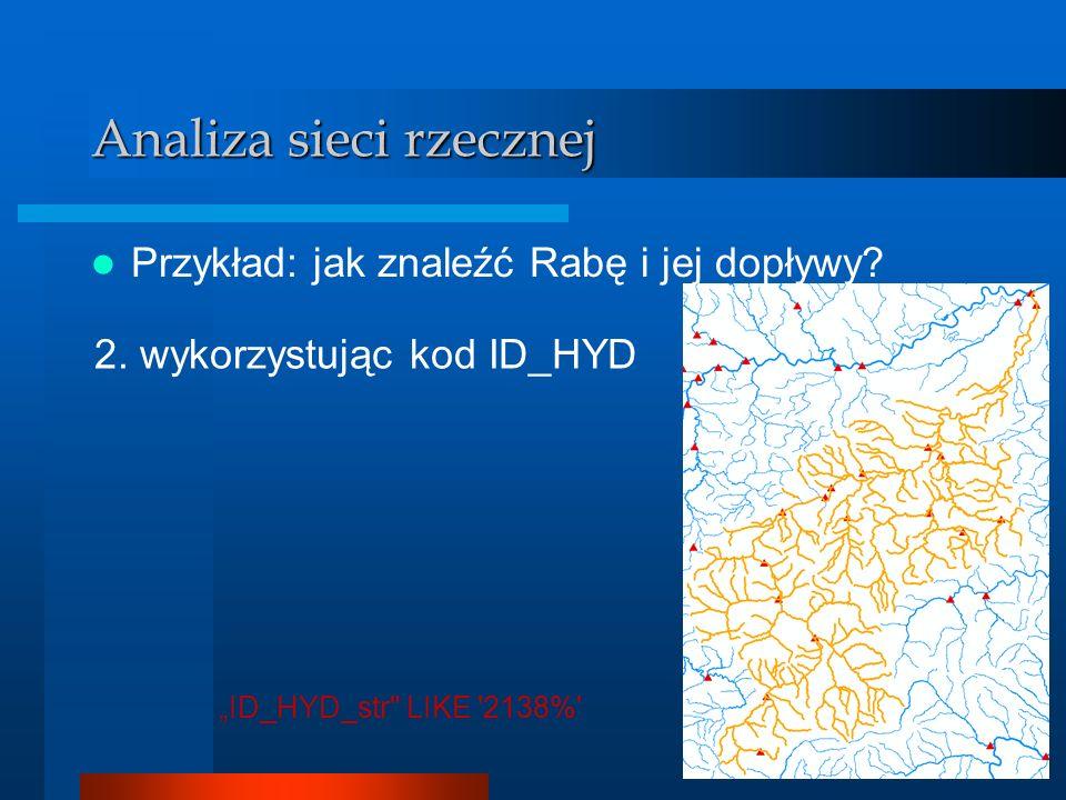 Analizator GIS Analiza sieci rzecznej Przykład: jak znaleźć Rabę i jej dopływy? 2. wykorzystując kod ID_HYD ID_HYD_str