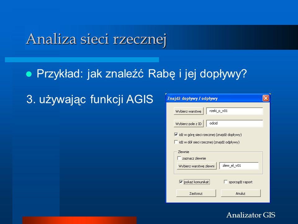 Analizator GIS Analiza sieci rzecznej Przykład: jak znaleźć Rabę i jej dopływy? 3. używając funkcji AGIS