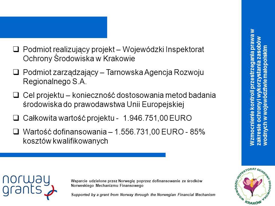 Podmiot realizujący projekt – Wojewódzki Inspektorat Ochrony Środowiska w Krakowie Podmiot zarządzający – Tarnowska Agencja Rozwoju Regionalnego S.A.