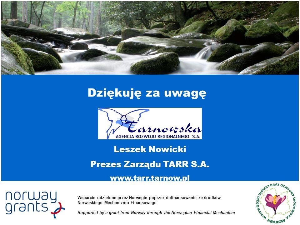 Dziękuję za uwagę Leszek Nowicki Prezes Zarządu TARR S.A.