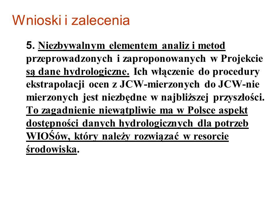 Wnioski i zalecenia 5. Niezbywalnym elementem analiz i metod przeprowadzonych i zaproponowanych w Projekcie są dane hydrologiczne. Ich włączenie do pr