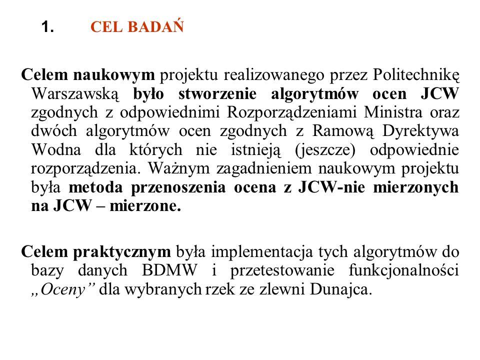 1. CEL BADAŃ Celem naukowym projektu realizowanego przez Politechnikę Warszawską było stworzenie algorytmów ocen JCW zgodnych z odpowiednimi Rozporząd