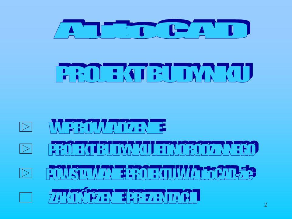 3 Do wykonania prezentowanego projektu użyto programu do komputerowego wspomagania projektowania AutoCAD ver.13 Poszczególne rysunki tworzone były na oddzielnych warstwach, o różnych kolorach, co dało efekt przejrzystości w odczytywaniu poszczególnych segmentów projektu.