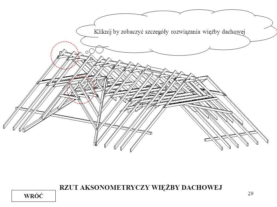 29 RZUT AKSONOMETRYCZY WIĘŻBY DACHOWEJ WRÓĆ Kliknij by zobaczyć szczegóły rozwiązania więźby dachowej