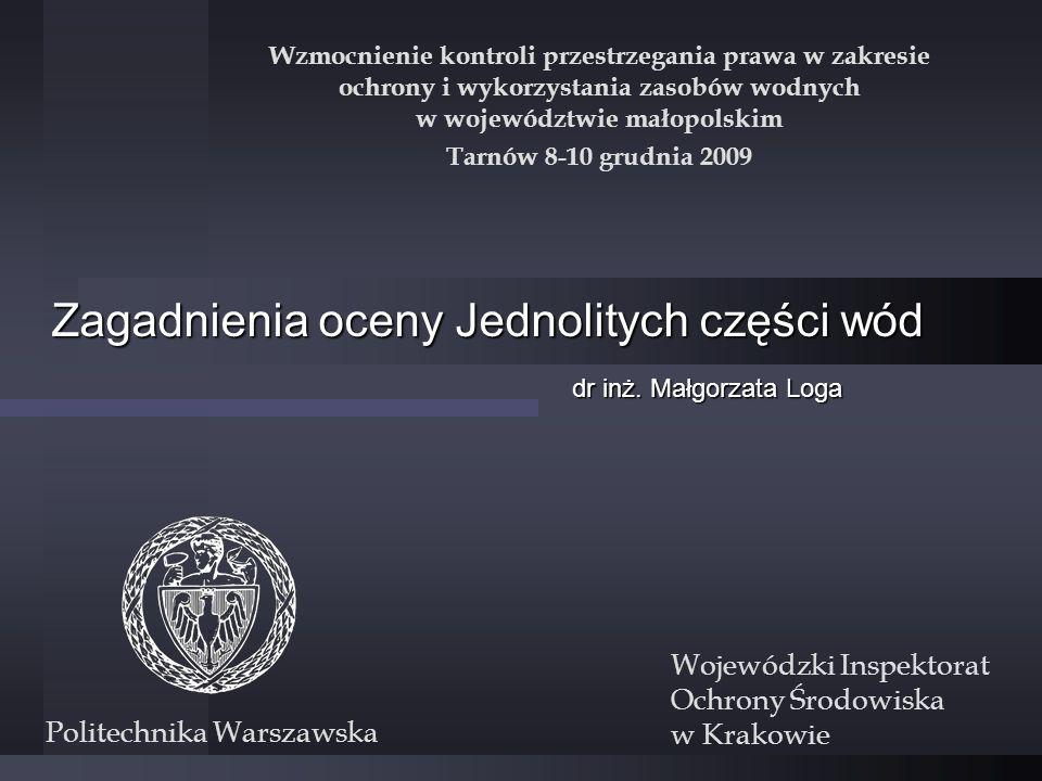 Plan prezentacji Oceny JCW na podstawie istniejących rozporządzeń Oceny na podstawie dyrektyw unijnych dla których nie ma polskich rozporządzeń Oceny stanu JCW nie podlegających pomiarom monitoringowym Nowe metody oceny stanu wód